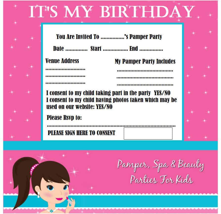 invites - Pamper Party Invitations